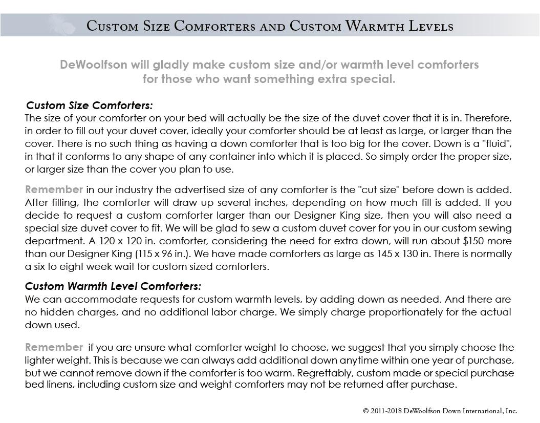 DEWOOLFSON custom comforters