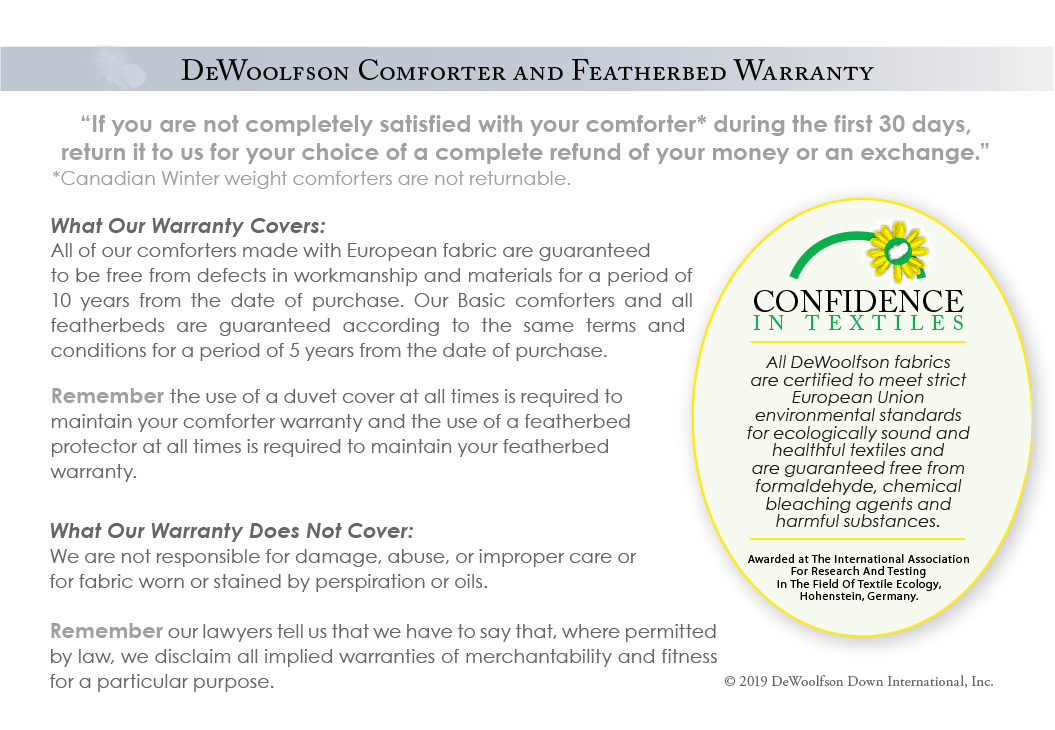 DEWOOLFSON comforter & featherbed warranty