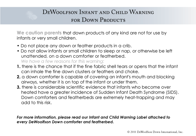 DEWOOLFSON infant and child warning for down products