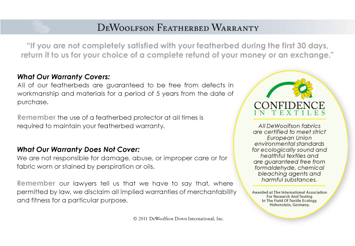 DEWOOLFSON featherbed warranty