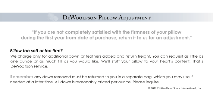 DEWOOLFSON pillow adjustment