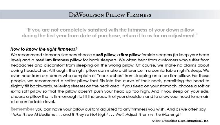 DEWOOLFSON pillow firmness