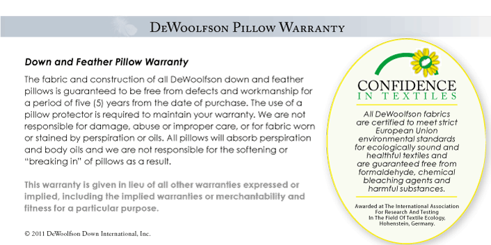 DEWOOLFSON pillow warranty